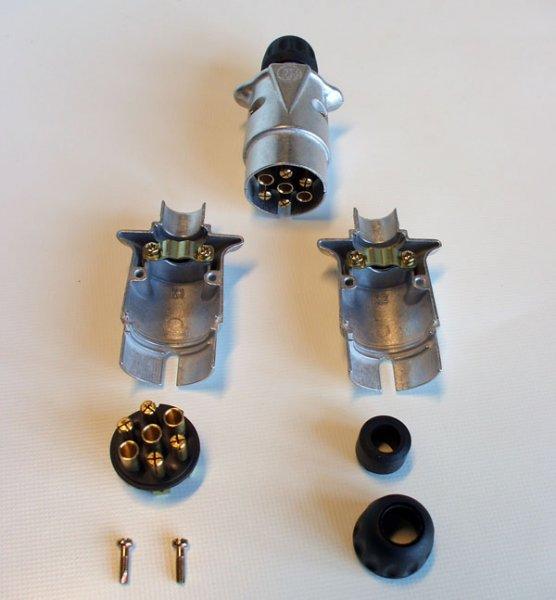 Stecker 7 Polig aus Leichtmetall mit Flachstecker / Anhänger ...